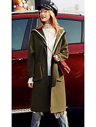 Women's Going out / Casual/Daily / Sports Active Coat,Solid Hooded Long Sleeve Fall / Winter Green Wool Medium