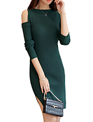 Women's Going out / Casual/Daily Street chic Bodycon / Sweater DressSolid Crew Neck Above Knee Long Sleeve Black / Green /Wine