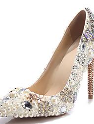 Homme-Mariage Soirée & Evénement-Blanc-Talon Aiguille Talon cristal-Confort Nouveauté-Chaussures à Talons-Cuir