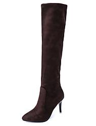 Women's Boots Winter Comfort Cashmere Casual Stiletto Heel Split Joint Black Brown Gray Walking