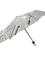 Preta / Branco Guarda-Chuva Dobrável Sombrinha Plastic Carrinho