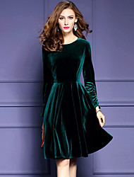 Women's Plus Size / Going out Street chic Sheath Dress,Solid Round Neck Knee-length Long Sleeve Green Polyester Fall / Winter Mid Rise