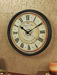 Retro Family Wall Clock,Round Iron 12 Indoor Clock