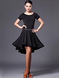 Latin Dance Dresses Women's Performance Spandex Ruffles 1 Piece Short Sleeve High Dress