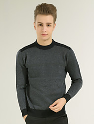 Men's Going out Party/Cocktail Vintage Street chic Regular Pullover,Patchwork Multi-color Round Neck Long Sleeve Cotton PolyesterAll