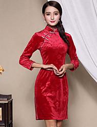 Feminino Reto Vestido,Casual Temática Asiática Sólido Colarinho Chinês Acima do Joelho Manga ¾ Vermelho Poliéster Outono / InvernoCintura