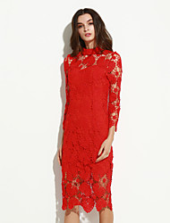 Women's Simple Sheath Dress,Solid Stand Midi Long Sleeve Red Polyester Summer Mid Rise