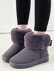 Women's Boots Winter Others Fleece Office & Career Dress Casual Flat Heel Bowknot Beading Black Pink Gray Others