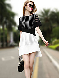 Women's Beach / Holiday Street chic / Sophisticated Sheath / Black and White Dress,Patchwork Round Neck Above Knee Short Sleeve