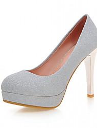 Damen-High Heels-Büro Lässig Kleid-Kunstleder-Stöckelabsatz-Light Up Schuhe-Gold Purpur Silber Blau