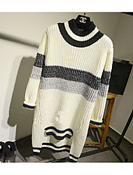 Women's Casual/Daily Simple Sweater Dress,Striped Turtleneck Above Knee Long Sleeve White / Black Polyester Winter Mid Rise Micro-elastic