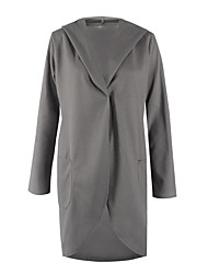 Women's Casual Solid / Simple CoatSolid Fashion Loose Hin Thin Hooded Long Sleeve Spring / Fall Medium