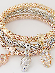 Women Fashion Simple Rhinestones Skull Charm Bracelet Gift