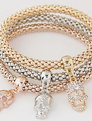 Women's Charm Bracelet Rhinestone Simulated Diamond Alloy Simple Style Fashion Skull / Skeleton Rainbow Jewelry 1set