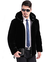 Men's Plus Size Street chic Fur Coat,Solid Hooded Long Sleeve Winter Black Wool Thick