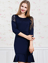 GATHER BEAUTY Women's Casual/Daily Simple Sheath DressSolid Round Neck Above Knee  Sleeve Blue Polyester Fall Mid Rise Inelastic Medium