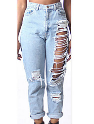 Women's Solid Blue Jeans Pants,Sexy / Street chic Spring / Fall