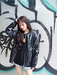 Sign ulzzang wild long-sleeved Korean students loose casual jackets pu leather jacket coat tide