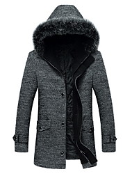Men's Casual/Daily / Work Simple Coat,Solid Round Neck Long Sleeve Winter Gray Wool Thick