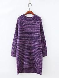 Damen Lang Pullover-Ausgehen Lässig/Alltäglich Einfach Niedlich Druck Blau Braun Grau Rundhalsausschnitt Langarm Baumwolle Herbst Winter