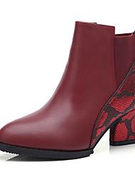 Women's Boots Spring Comfort Cowhide Casual Chunky Heel Split Joint Black Red Walking