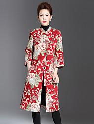 Feminino Casaco Casual / Tamanhos Grandes Temática Asiática Inverno,Jacquard Azul / Vermelho Poliéster / Elastano Colarinho Chinês-Manga