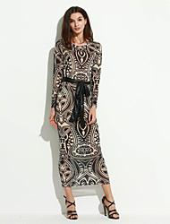 Women's Vintage / Street chic National Style Print Slim Over Hip Bodycon Dress,Round Neck Maxi