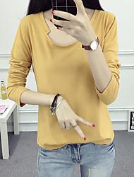 Tee-shirt Femme,Couleur Pleine Sortie simple Automne Manches Longues Col Arrondi Bleu / Orange / Jaune Coton Moyen