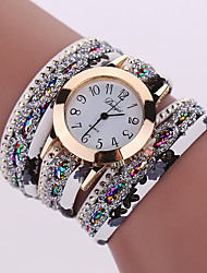Fashion Women'S Watches Retro Bracelet Watch Synthetic Leather Quartz Watch Crystal Bling Dress Montre Relogio
