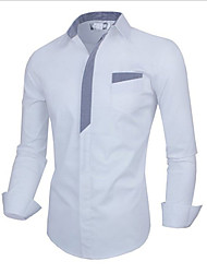 Men's Casual/Daily Simple Shirt,Check Square Neck Long Sleeve White / Black Cotton