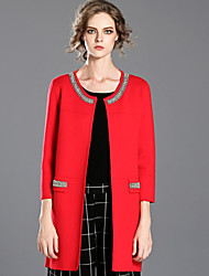 INPLUS LADY Women's Casual/Daily Simple CoatSolid Long Sleeve Winter Red / Black Acrylic / Polyester Thick