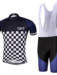 QKI Piano Pro Cycling Jersey with Bib Shorts Men's Short Sleeve BikeBreathable / Quick Dry/Anatomic Design/reflective stripe/5D coolmax gel pad