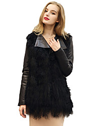 Women's Going out / Casual/Daily / Holiday Vintage / Simple / Street chic Jackets,Solid Shirt Collar Long Sleeve Spring / Fall Black