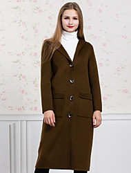 GATHER BEAUTY Women's Casual/Daily Simple CoatSolid Shirt Collar Long Sleeve Fall / Winter Green Wool