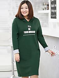 Long Hoodies Femme Décontracté / Quotidien / Grandes Tailles simple,Lettre Noir / Vert Capuche Manches Longues Coton / PolyesterAutomne /
