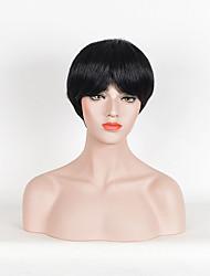 vente femmes chaudes couleur noire perruques synthétiques perruques droites courtes