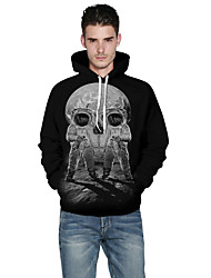 Men's Casual / Sports Simple / Active Regular Loose Hoodies Creative Space 3D Print Round Neck Long Sleeve Cotton / Polyester Fall / Winter