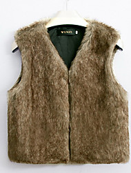 Women's Going out / Casual/Daily Cute Jackets,Solid Round Neck Sleeveless Winter White / Black / Brown / Gray Faux Fur Medium