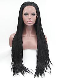 sylvia laço sintético frente peruca de cabelo trançado pretos e lisos menores tranças aquecer perucas sintéticas resistentes para as