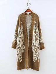 Women's Going out / Casual/Daily Simple / Cute Regular Cardigan,Jacquard Gray / Yellow Deep V Long Sleeve Cotton Fall / Winter Medium