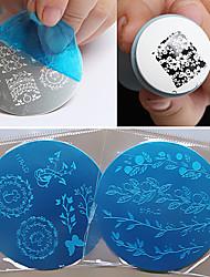 1pcs prego modelo de impressão diy unha azul filme impressão prego placa redonda 1-16