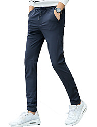 Men's Slim / Skinny Pants,Casual/Daily Solid Low Rise Zipper / Button Cotton Micro-elastic Fall / Winter