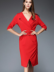 Women's Casual/Daily Simple Shift Dress,Solid V Neck Knee-length ¾ Sleeve Red / Black Polyester Fall Mid Rise Inelastic Medium