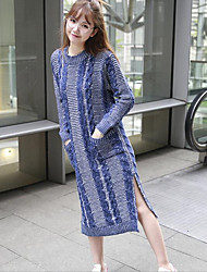 Women's Casual/Daily Simple Sweater Dress,Solid Round Neck Midi Long Sleeve Blue Cotton Fall / Winter Mid Rise Stretchy Medium