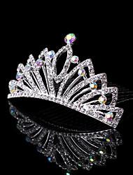 Flower Girl's Silver Crystal Crown Tiara Hair Comb Hair Jewelry