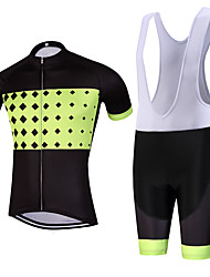 Sports QKI Ruim Pro Cycling Jersey with Bib Shorts Men's Short Sleeve BikeBreathable / Quick Dry /reflective stripe/5D coolmax gel pad