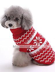Hunde Pullover Rot / Dunkelblau Hundekleidung Winter Schneeflocke Modisch / Weihnachten