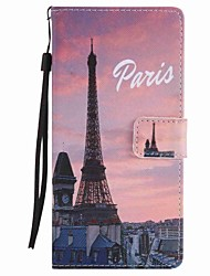 For  Xperia XA Ultra X Performance Z5 Case Cover Eiffel Tower Painted Lanyard PU Phone Case