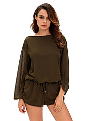 Women's Army Green Oversize Bodice Long Sleeve Hollow-out Back Romper