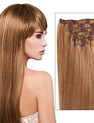 Clip in 100% Real Human Hair Extensions Silky Straight Full Head 7 Pieces and 8 Pieces Many Colors for Your Choice